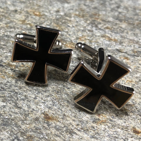 Black Patty Cross Cufflinks