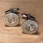 Silver Shotgun Cartridge Head Replica Cufflinks