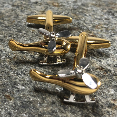 Gold and Silver Helicopter Cufflinks
