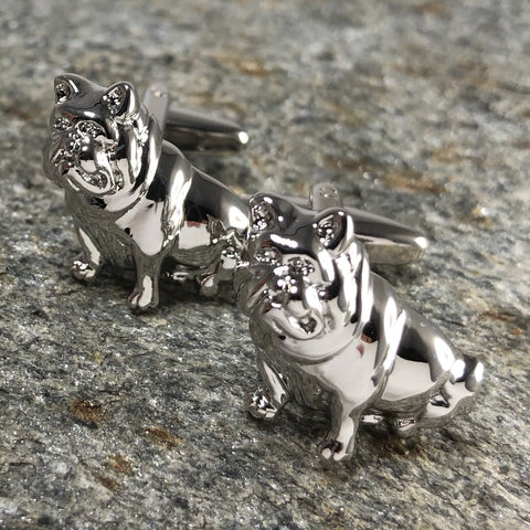 Silver Sitting Bulldog Cufflinks