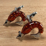 Red and Silver Shrimp Cufflinks