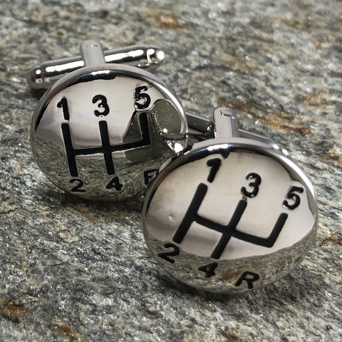Silver Six Speed Gearshift Cufflinks