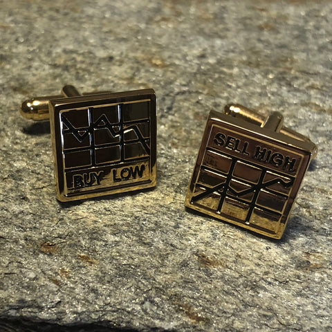 Gold Stock Market Buy and Sell Cufflinks