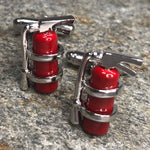 Red and Silver Fire Extinguisher Cufflinks