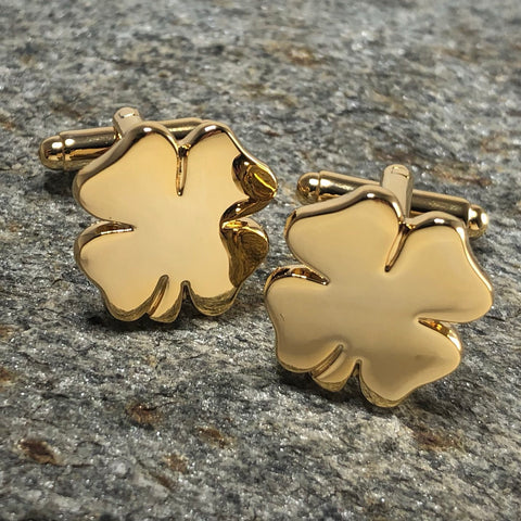 Gold Four Leaf Clover Shamrock Cufflinks