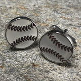 White 2D Baseball Ball Cufflinks