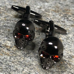 Black Skull with Red Crystal Eyes Cufflinks