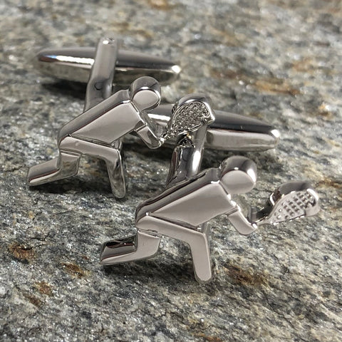 Silver 2D Tennis Player Cufflinks