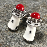 White and Red Lighthouse Cufflinks