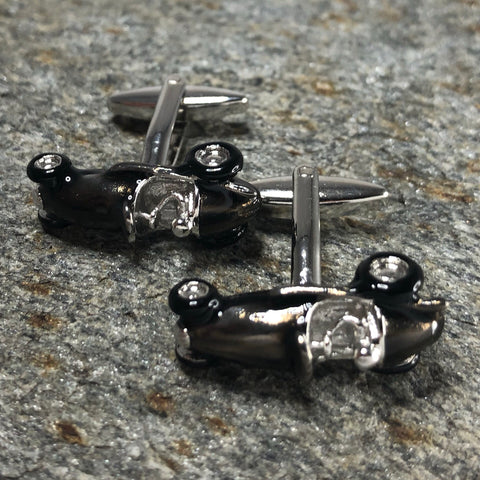 Gunmetal and Silver Retro Race Car Cufflinks