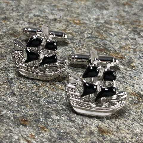 Silver and Black Pirate Ship Cufflinks