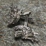 Silver Chinese Dragon Head Cufflinks