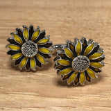Yellow and Brown Enameled Sunflower Cufflinks