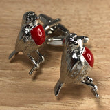 Silver and Red Robin Cufflinks