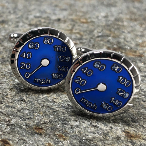 Blue and Silver Speedometer Guage Cufflinks