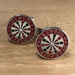Red and Silver Dart Board Cufflinks