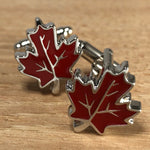 Red and Silver Maple Leaf Cufflinks