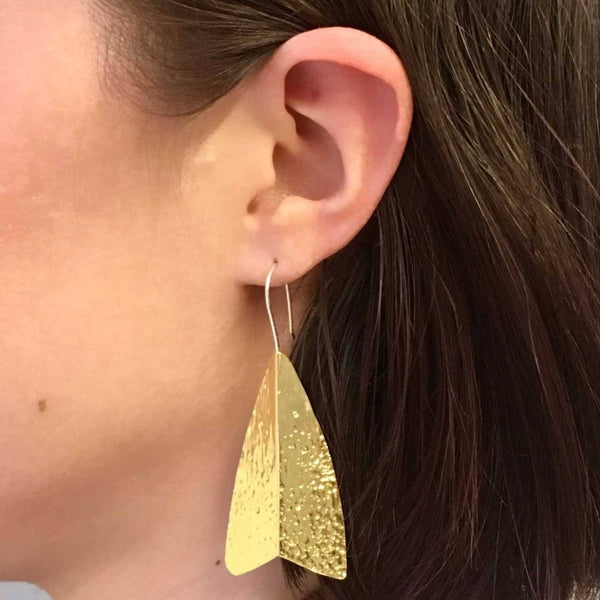 Abby Seymour — Silver and Brass Moth Drop Earrings - Australian made Jewellery