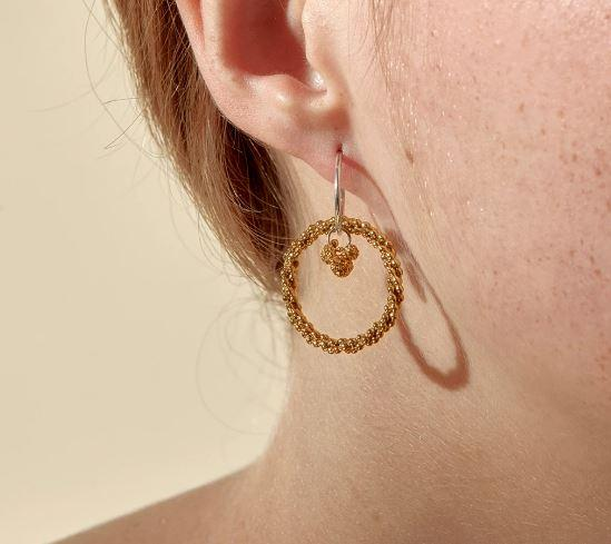 Abby Seymour — Silver and Brass Seed Garland Sleeper Earrings - Australian made Jewellery