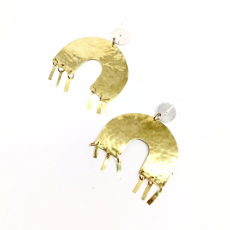 Abby Seymour — Silver and Brass Memphis Earrings - Australian made Jewellery