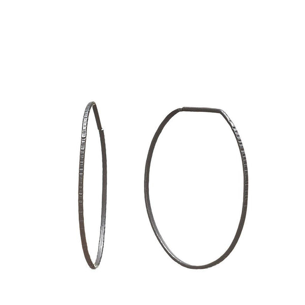 Abby Seymour — Oxidised Silver Circle Hoop Earrings - Australian made Jewellery