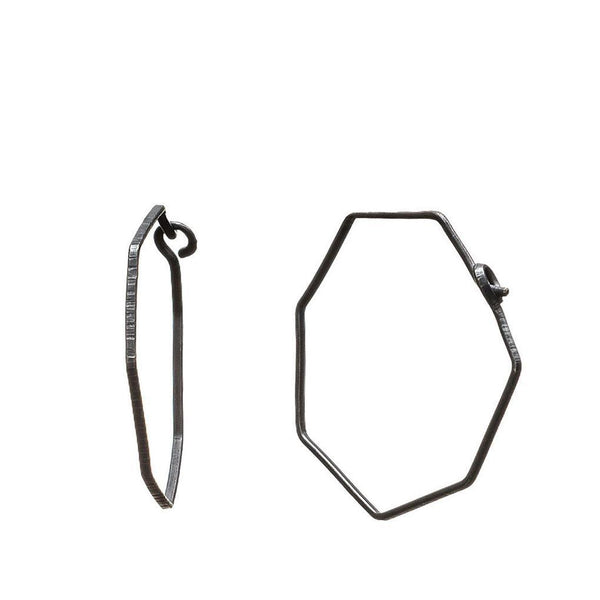 Abby Seymour — Oxidised Silver Hexagonal Hoop Earrings - Australian made Jewellery
