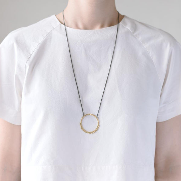 Abby Seymour — Oxidised Sterling Silver & Brass Eclipse Necklace Jewellery Abby Seymour | Craft