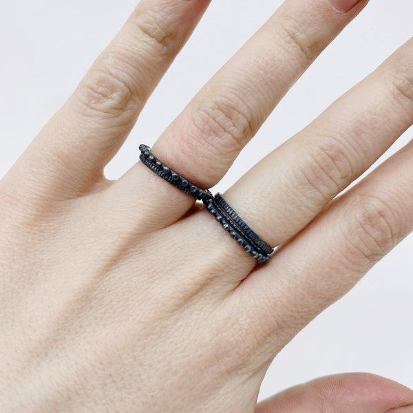 Abby Seymour — Oxidised Sterling Silver Halftone Ring - Australian made Jewellery