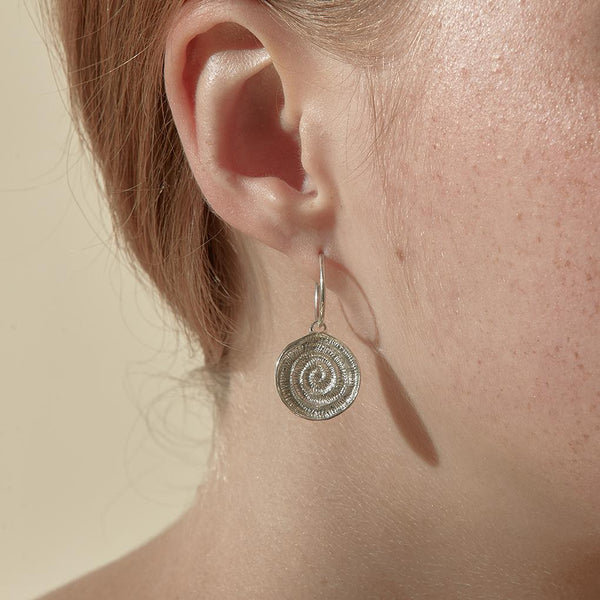 Abby Seymour — Silver Ammonite Sleeper Earrings - Australian made Jewellery