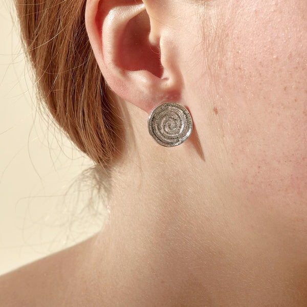 Abby Seymour — Silver Ammonite Studs - Australian made Jewellery