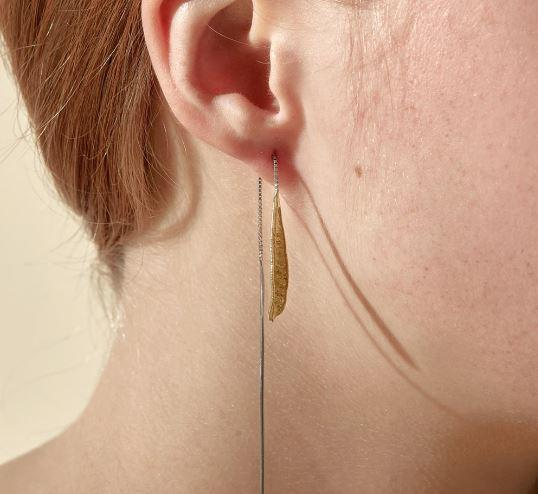 Abby Seymour — Silver and Brass Banksia Leaf Threader - Australian made Jewellery