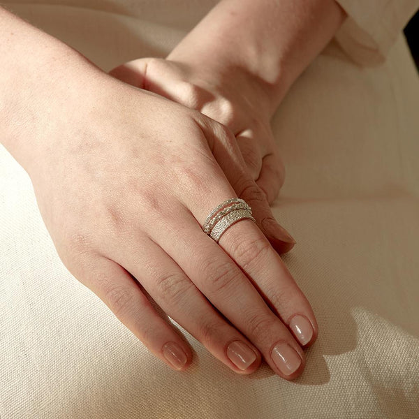 Abby Seymour — Silver Diamond Peak Ring - Australian made Jewellery