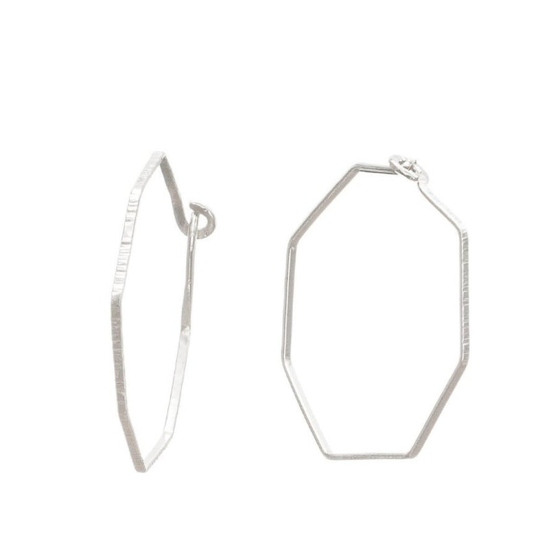 Abby Seymour — Silver Hexagonal Hoop Earrings - Australian made Jewellery