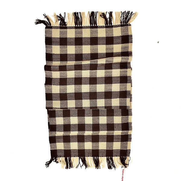 Aidan Renata — 'The Check Scarf' in Brown and Beige Wool - Australian made Textiles