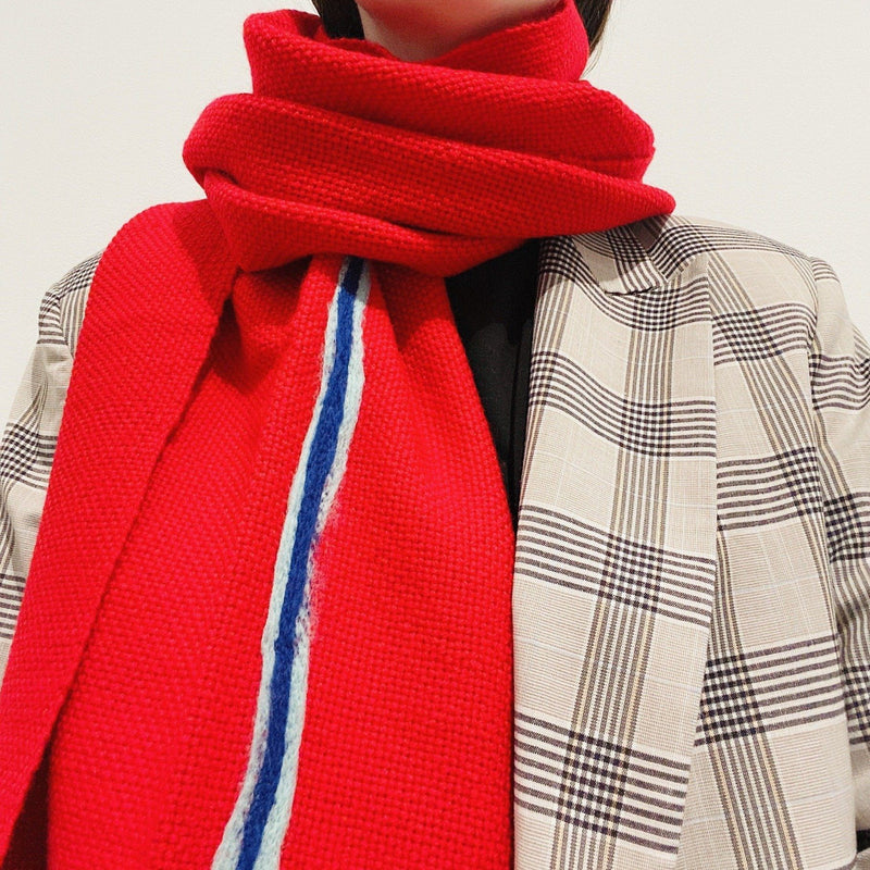 Aidan Renata — 'The Lined Scarf' in Red, Ice Blue and Dark Blue Wool - Australian made Textiles