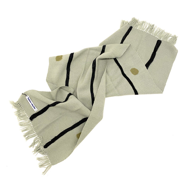 Aidan Renata — 'The Spot and Stripe Scarf' in Pale Green, Black and Sage Wool - Australian made Textiles