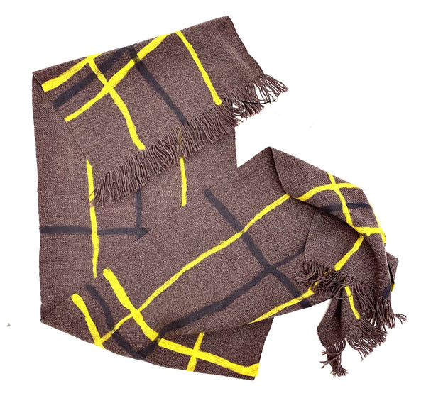 Aidan Renata — 'The Wonky Plaid Scarf' in Marled Grey, Yellow and Storm Grey Wool - Australian made Textiles