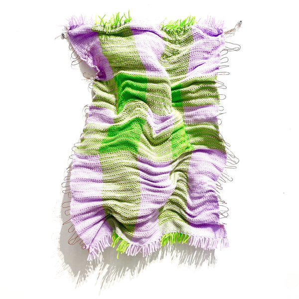 Aidan Renata — 'Woven Wall Hanging 1' in Pink and Green Acrylic Wool and Copper Wire - Australian made Textiles