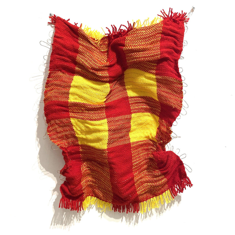 Aidan Renata — 'Woven Wall Hanging 2' in Red and Yellow Acrylic Wool and Copper Wire - Australian made Textiles