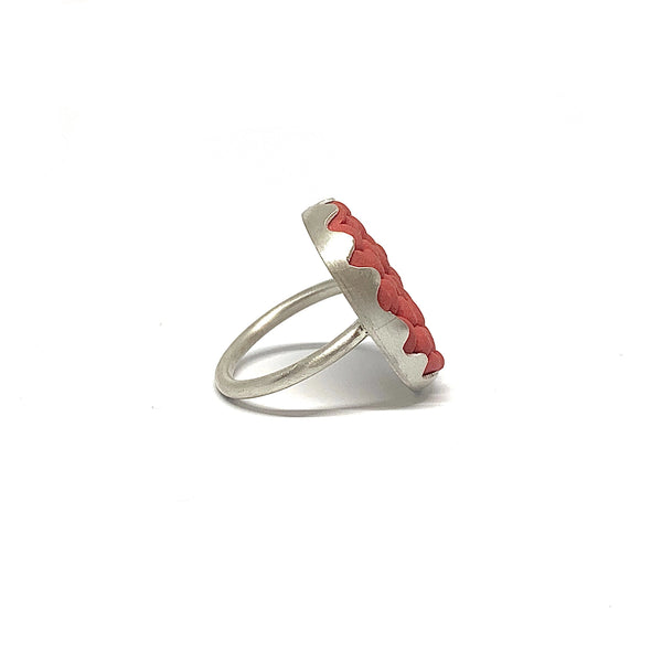 Alice Whish — 'Native Raspberry' Porcelain and Silver Ring - Australian made Jewellery
