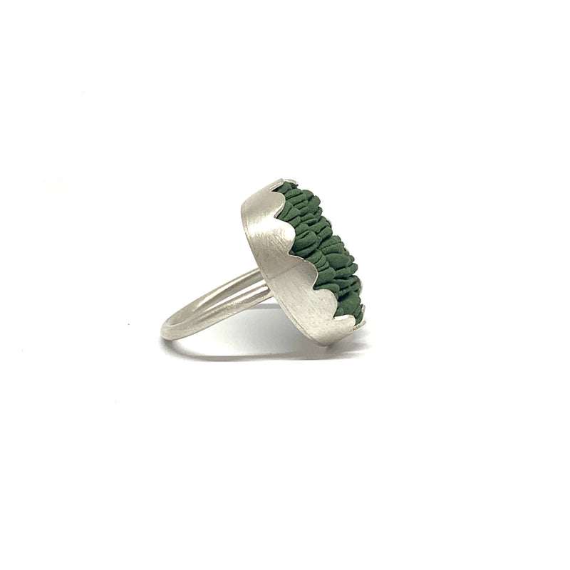 Alice Whish — 'Silkpod' Porcelain and Silver Ring - Australian made Jewellery