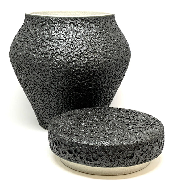 Alison Frith —  Matt Black Lidded Ceramic Vessel - Australian made Ceramics