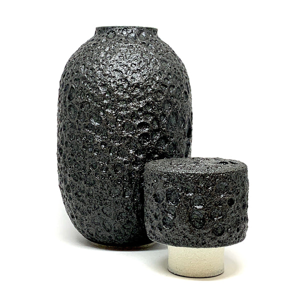 Alison Frith —  Matt Black Tall Lidded Ceramic Vessel - Australian made Ceramics
