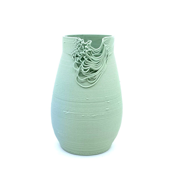 Alterfact — 3D Printed Porcelain 'One of a Kind' Vase in Green - Australian made Ceramics