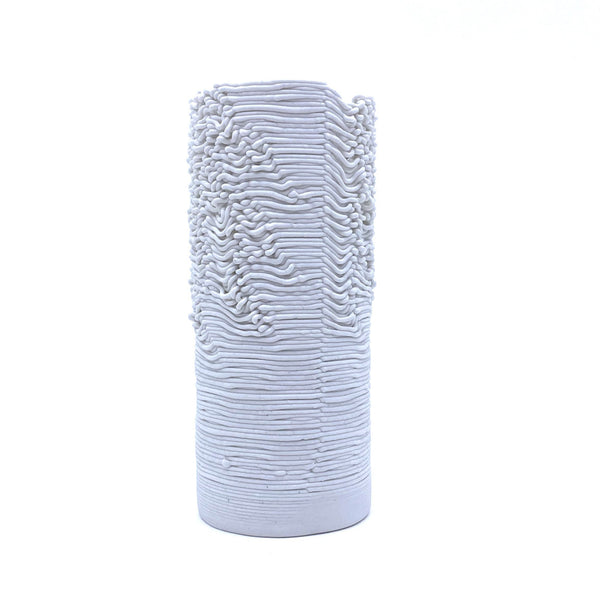 Alterfact — Small 3D Printed Porcelain 'Threaded' Vase - Australian made Ceramics