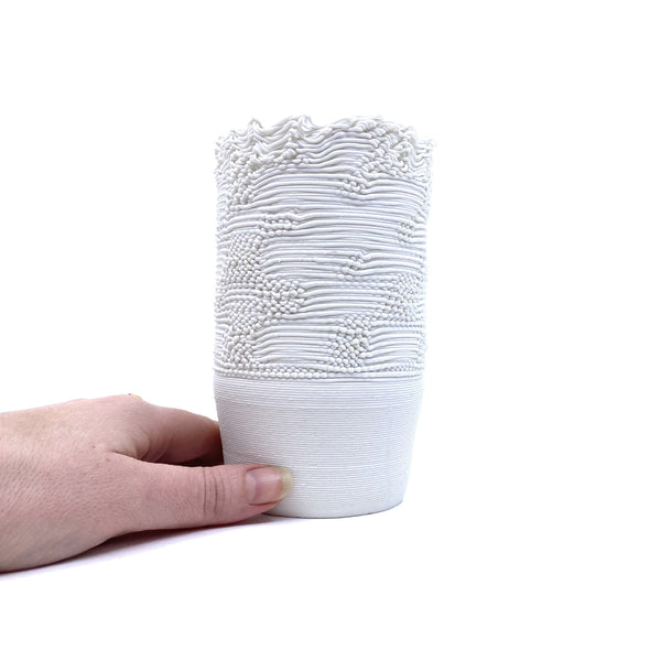 Alterfact — Wide 3D Printed Porcelain 'Threaded' Vase - Australian made Ceramics