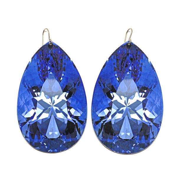 Anna Davern — Large Blue Rock Pear Drop Earrings - Australian made Jewellery