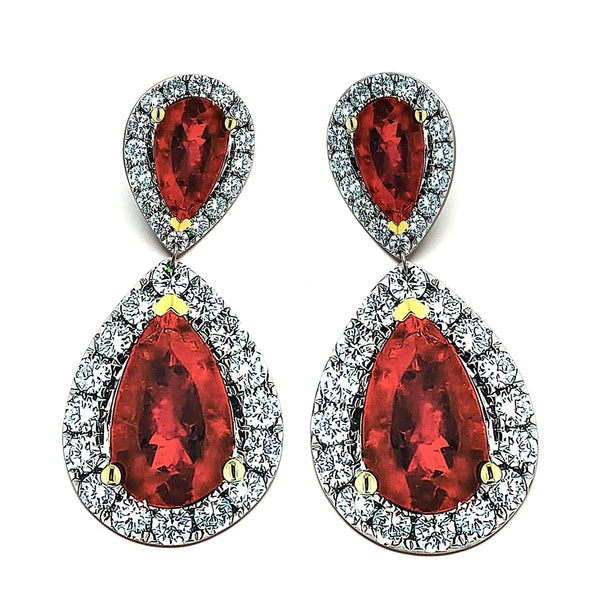 Anna Davern — Large Double Pear Ruby Rock Earrings - Australian made Jewellery