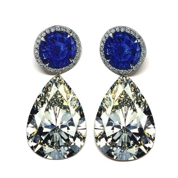 Anna Davern — Large Round Sapphire Pear Diamond Earrings - Australian made Jewellery