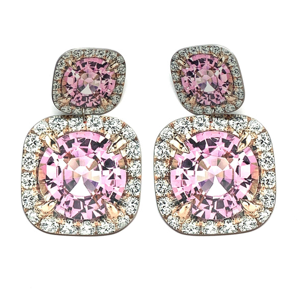 Anna Davern — Medium Double Square Pink Diamond Earrings - Australian made Jewellery